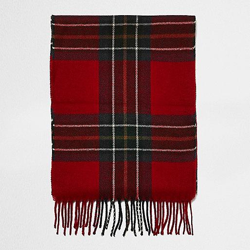 Boys red plaid scarf