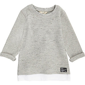 Mini boys grey layered waffle top