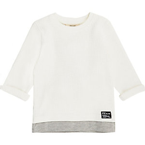 Mini boys white layered waffle top