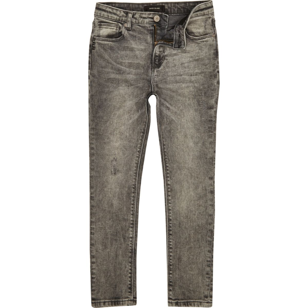Boys grey washed Sid skinny jeans