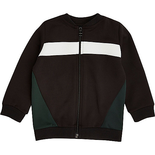 Mini boys black block bomber jacket