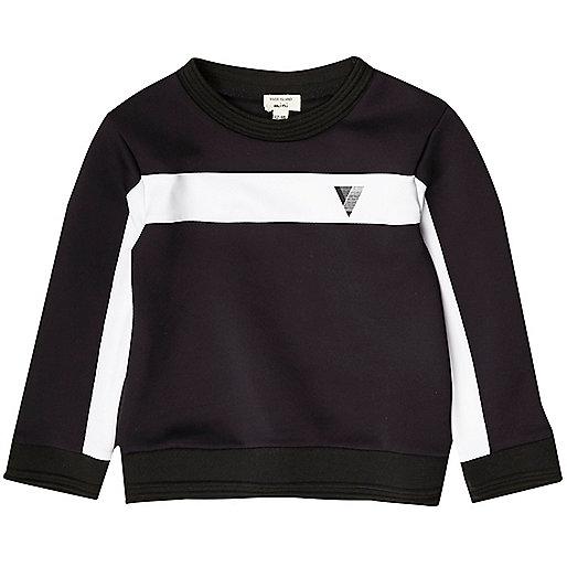 Mini boys navy color block sweatshirt