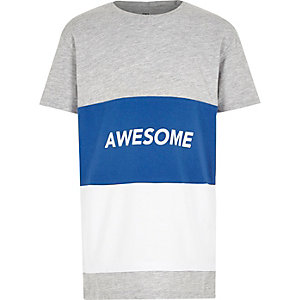 Boys blue colour block 'awesome' T-shirt