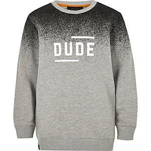 Boys grey faded print slogan sweatshirt