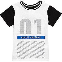 Mini boys white Newlife print t-shirt