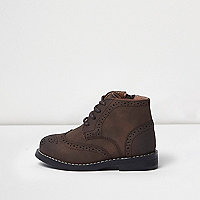Mini boys brown brogue boots