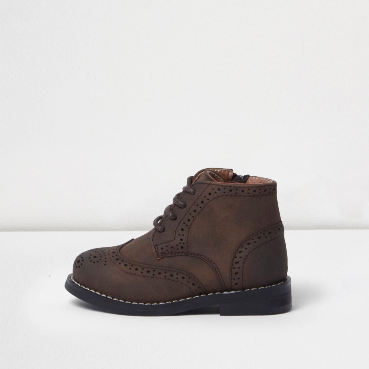 Mini boys brown brogue boots