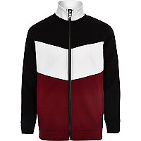 Boys red block zip track jacket