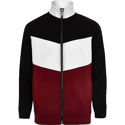 Veste de survêtement zippée rouge colour block pour garçon