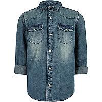 Boys blue wash western denim shirt