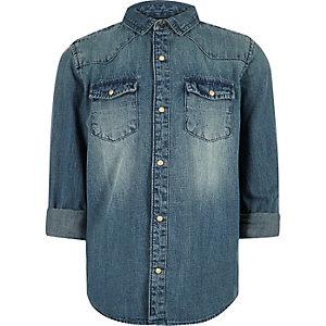Western-Jeanshemd in blauer Waschung