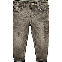 Mini boys grey distressed skinny jeans
