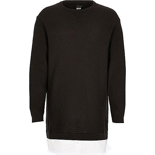 Boys grey knit jumper with shirt hem