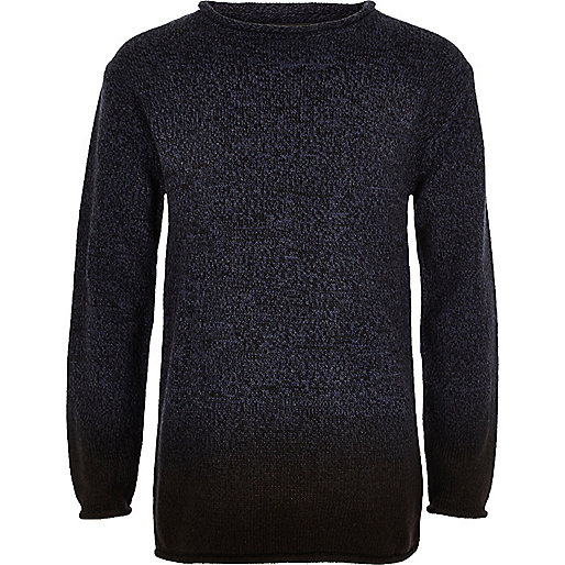 Boys navy dip dye knit sweater
