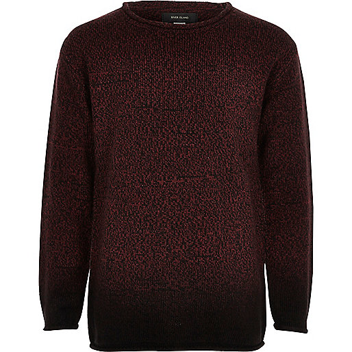 Boys red dip dye knit sweater