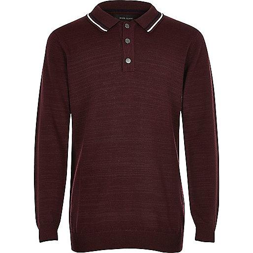 Boys burgundy long sleeve polo shirt