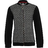 Boys black zig zag knit bomber jacket