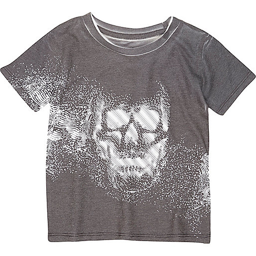 Mini boys black skull print t-shirt
