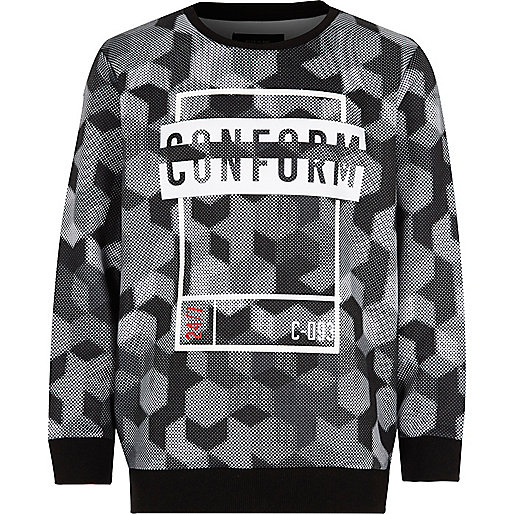 Boys black 'conform' print sweatshirt