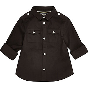 Mini boys black military shirt