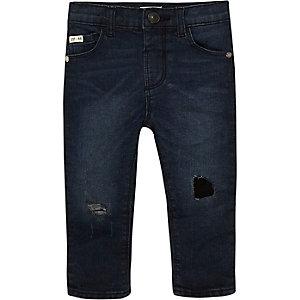 Mini boys dark wash ripped skinny jeans