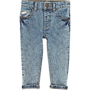 Mini boys blue acid wash skinny jeans
