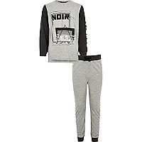 Boys grey 'noir' print pajama set