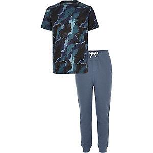 Blauwe pyjamaset met camouflageprint voor jongens