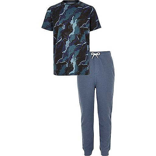 Boys blue camo pyjama set