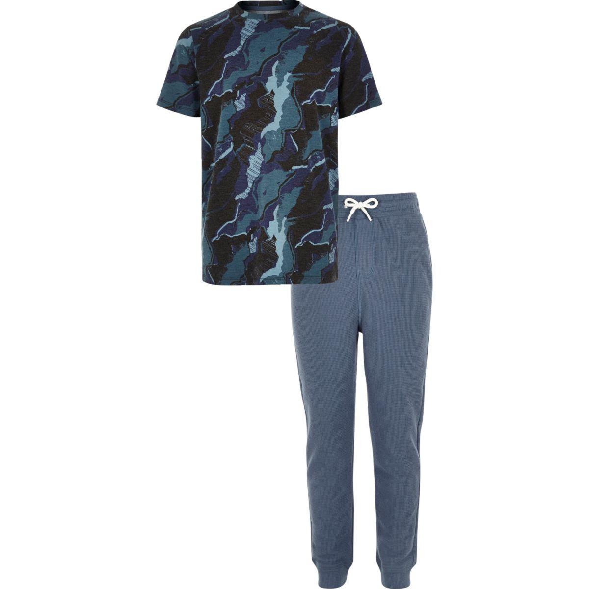 Boys blue camo pajama set
