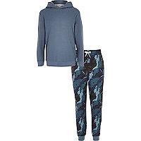 Ensemble détente jogging avec sweat à capuche bleu motif camouflage