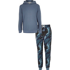 Boys blue camo hoodie joggers lounge set