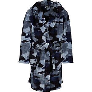 Blauwe badjas met camouflageprint voor jongens