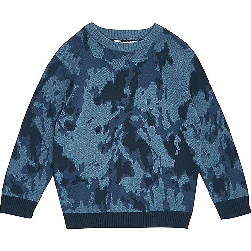 Pull en maille motif camouflage bleu mini garçon