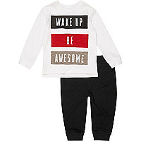 Mini boys white top and joggers pyjama set