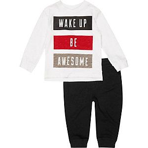 Ensemble pyjama haut et pantalon de jogging blanc mini garçon