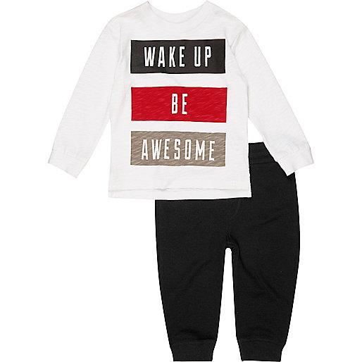 Mini boys white top and joggers pajama set
