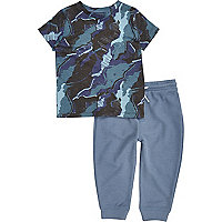 Mini boys blue camo pyjama set