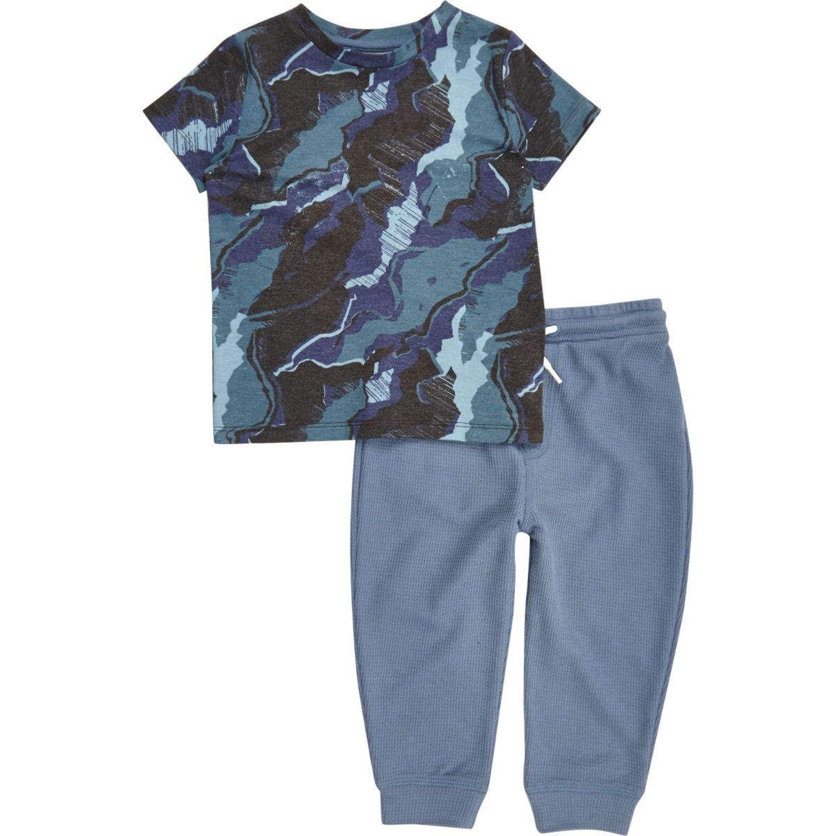 Mini boys blue camo pajama set