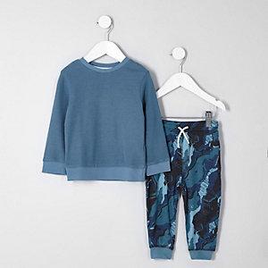 Mini boys blue camo pyjama set