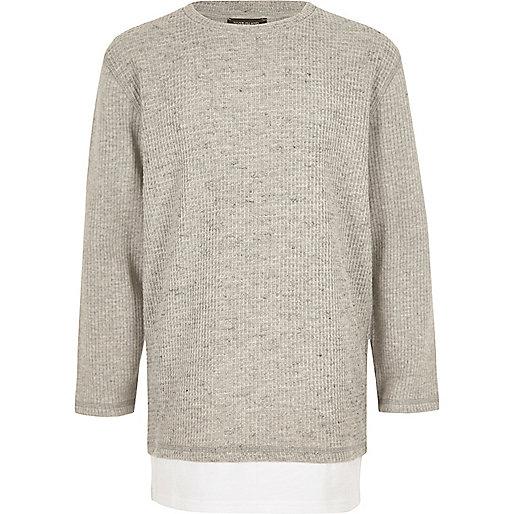 Boys grey layered long sleeve T-shirt
