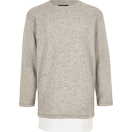 Boys grey layered long sleeve T-shirt