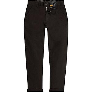 Boys black slim chino trousers