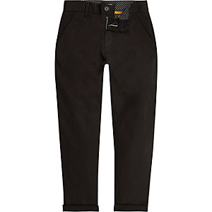Boys black slim chino pants