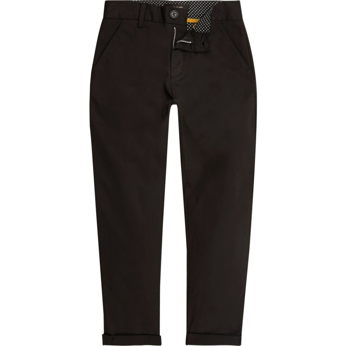 Boys black slim chino trousers