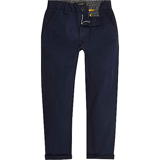Boys navy slim chino pants