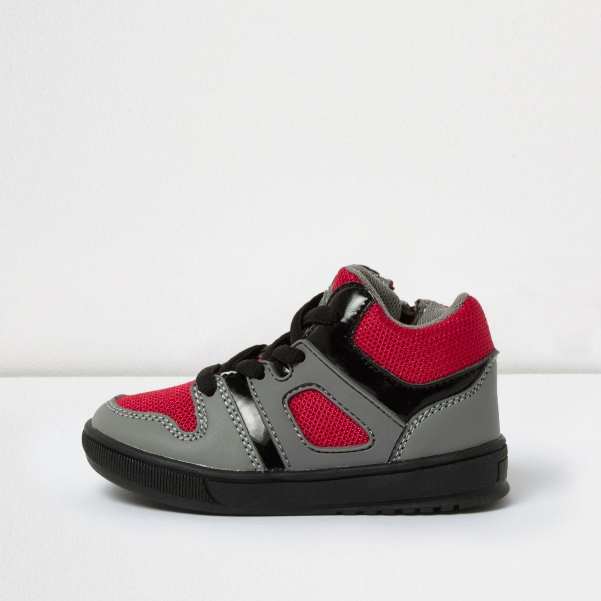 Mini boys red sports hi tops