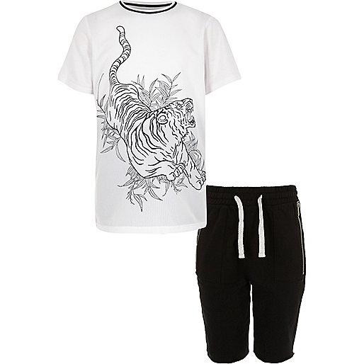 Boys white tiger print t-shirt shorts outfit