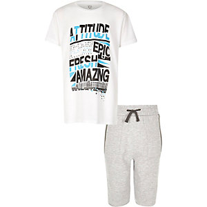 Boys white print t-shirt and shorts outfit