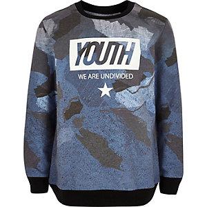 Boys blue 'Youth' print sweatshirt